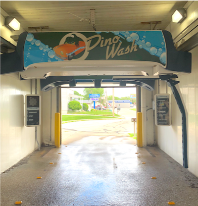 One of the many successful Dino Wash locations powered by a PDQ LaserWash® 360 system at a Dino Stop gas station in the Green Bay market.